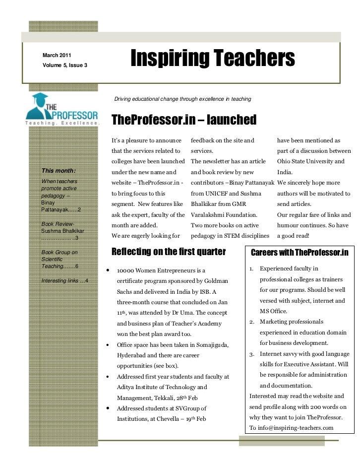 Inspiring Teachers Newsletter March 2011