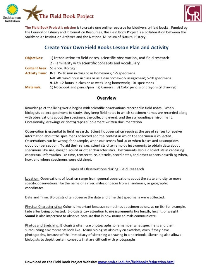 Create Your Own Field Notes Lesson Plan and Activity, 2012 ed