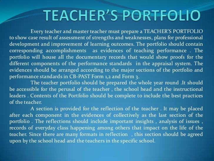 Teacher s portfolio for Professional teaching portfolio template