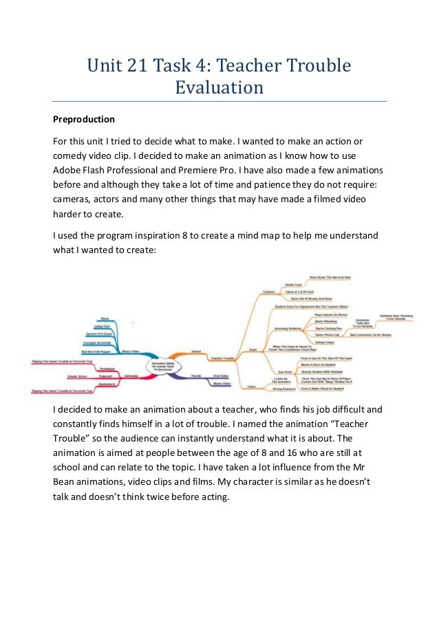 Unit 21 Task 4: Teacher Trouble Evaluation Preproduction For this unit I tried to decide what to make. I wanted to make an...