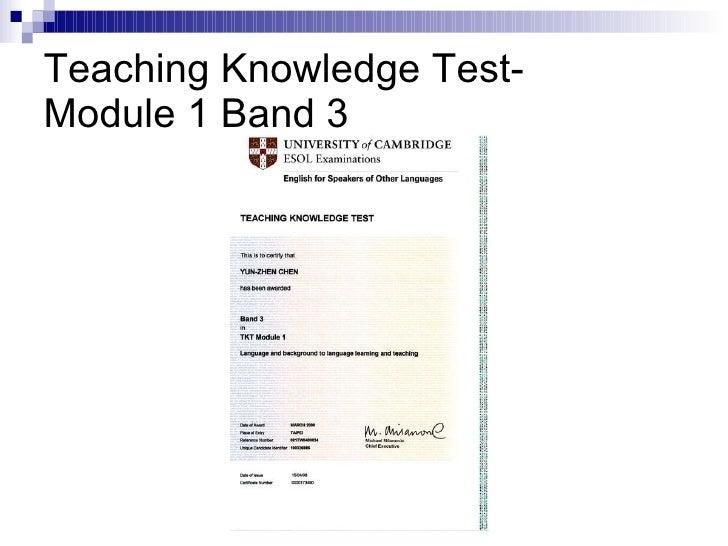 Teaching Knowledge Test- Module 1 Band 3