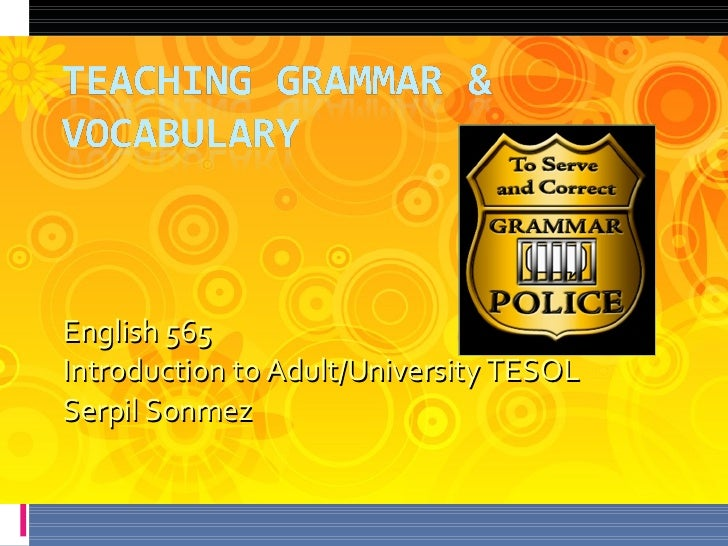 English 565  Introduction to Adult/University TESOL Serpil Sonmez