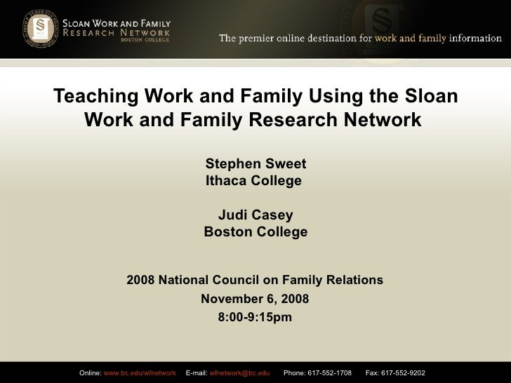 Teaching Work and Family Using the Sloan Work and Family Research Network  Stephen Sweet Ithaca College  Judi Casey Boston...