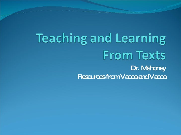 Teaching And Learning From Texts Vacca Ch1