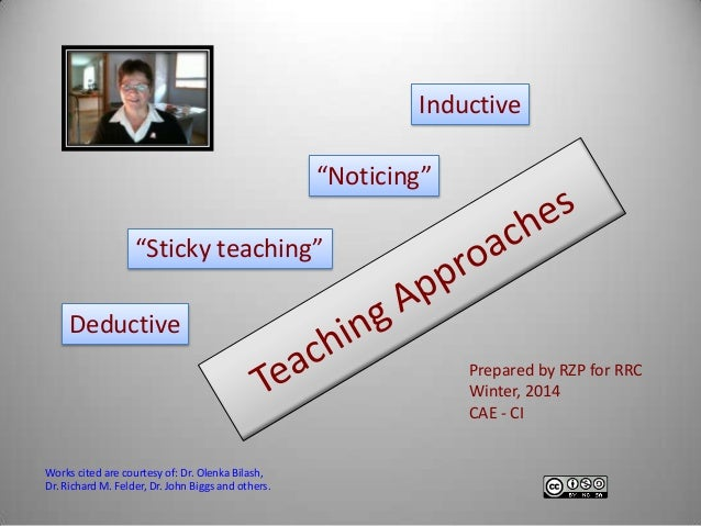 "Inductive ""Noticing"" ""Sticky teaching""  Deductive Prepared by RZP for RRC Winter, 2014 CAE - CI  Works cited are courtesy ..."