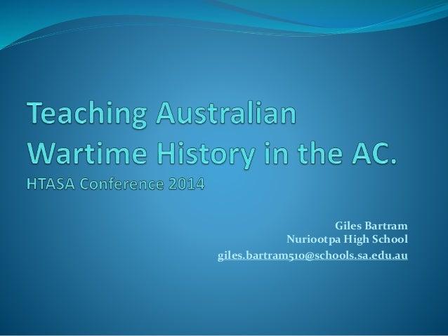 Teaching australian wartime history