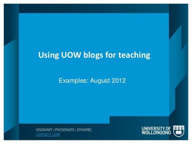 Teaching blogs at UOWblogs