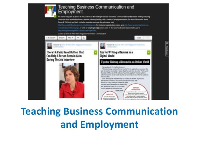 Teaching Business Communication and Employment