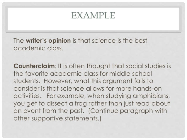 writing claims in an essay Writers workshop unit of study 6 th write arguments to support claims in an analysis of substantive topics or texts, using valid reasoning and.