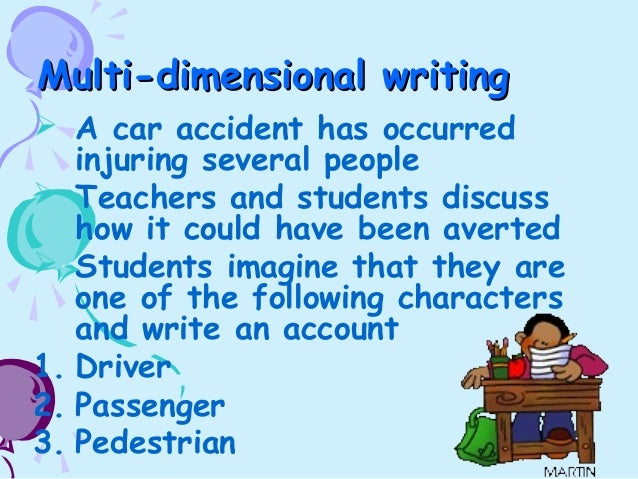 What three points could I use in a descriptive essay about a past car accident?