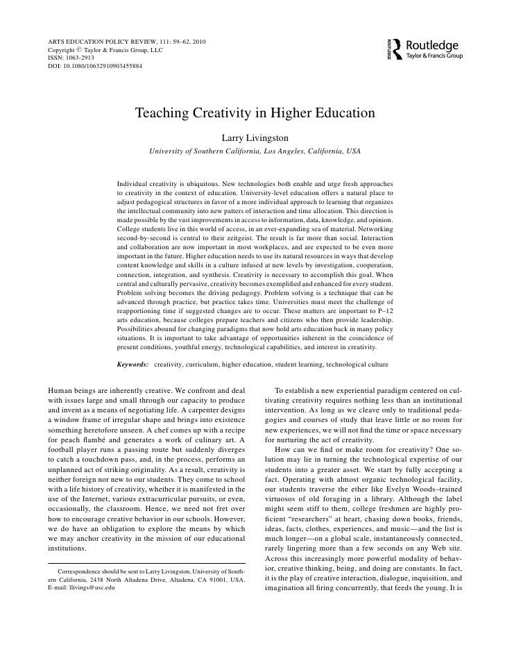ARTS EDUCATION POLICY REVIEW, 111: 59–62, 2010 Copyright C Taylor & Francis Group, LLC ISSN: 1063-2913 DOI: 10.1080/106329...