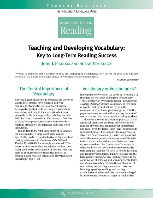 Teaching & developing vocabulary