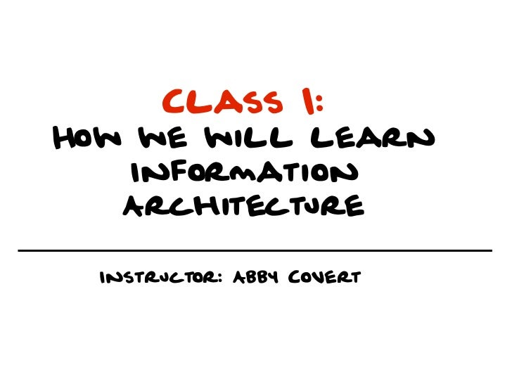 Class 1:How we will learn   Information   Architecture  Instructor: Abby Covert