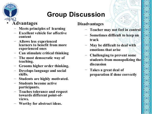 group discussion advantages disadvantages advantages