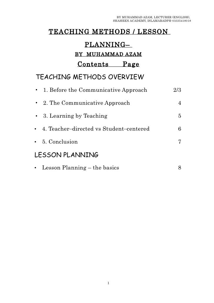 Teaching methods overview by muhammad azam