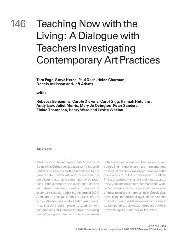 a dialog with teachers investigating contemporary art practice