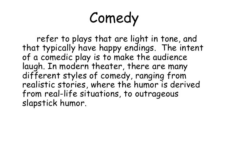 Teaching of literature drama for Farcical humor examples