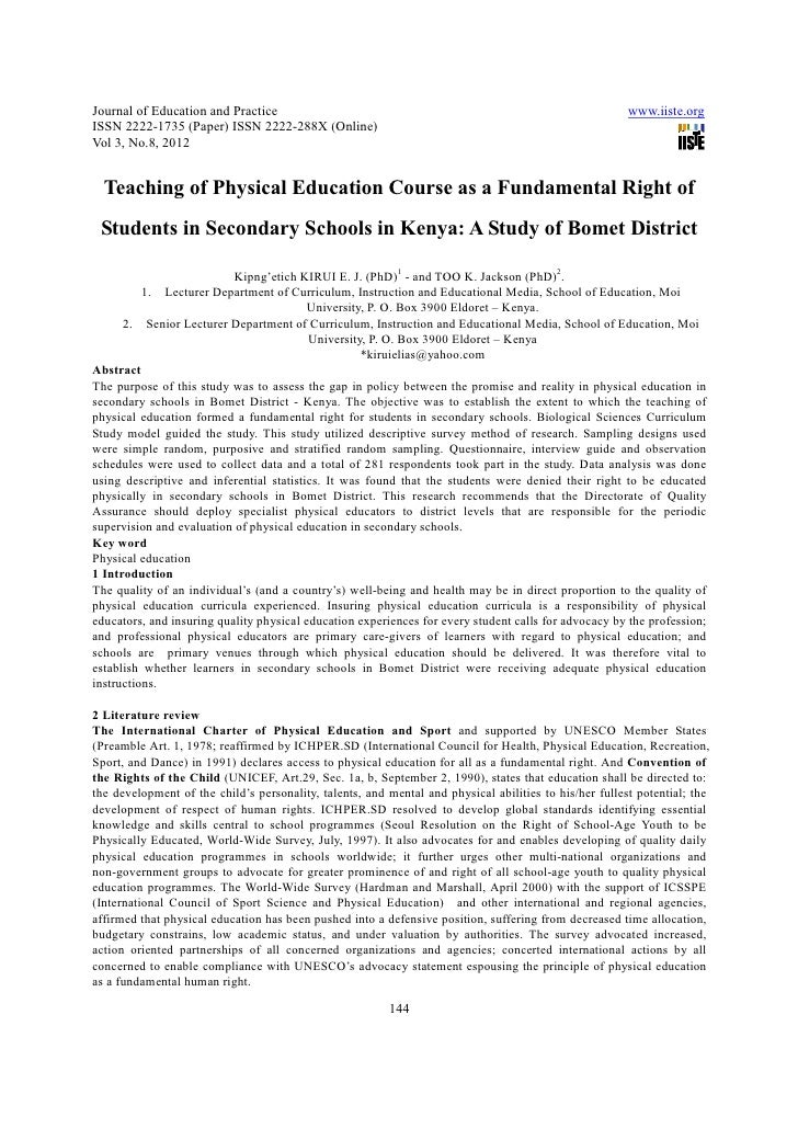 Teaching of physical education course as a fundamental right of students in secondary schools in kenya