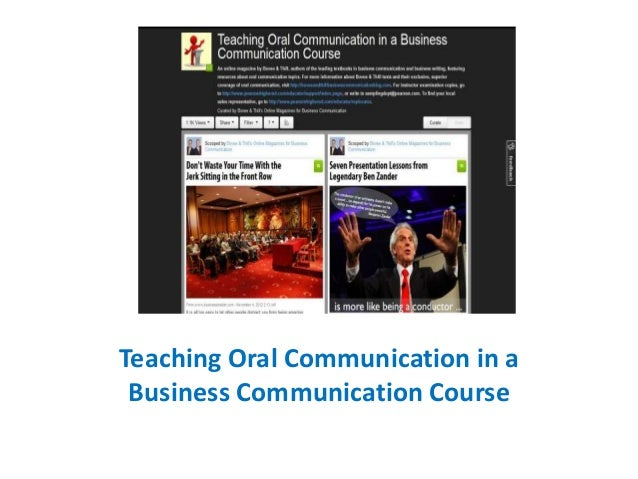 Teaching Oral Communication in a Business Communication Course