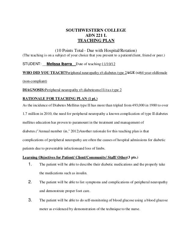 SOUTHWESTERN COLLEGE ADN 221 L TEACHING PLAN (10 Points Total– Due with Hospital/Rotation) (The teaching is on a subject o...