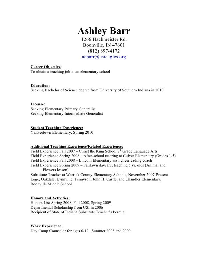 resume for a preschool teacher