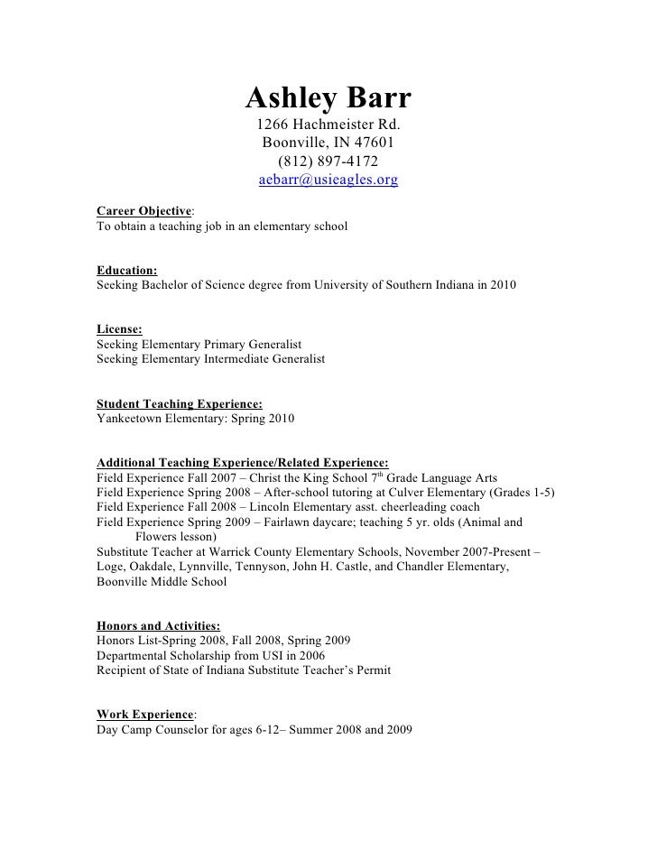ashley barr 1266 hachmeister rd boonville in 47601 - Daycare Resume