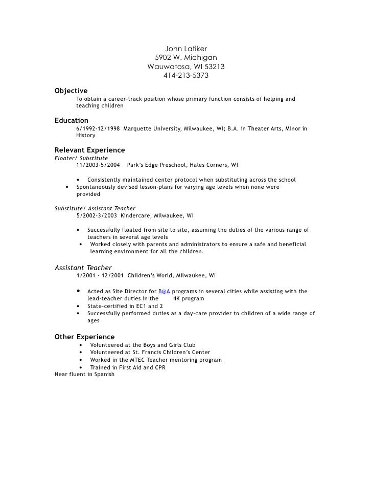 Substitute Teacher Job Description For Resume  Resume Badak