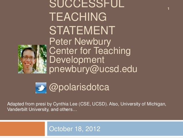 UCSD Teaching Statement workshop
