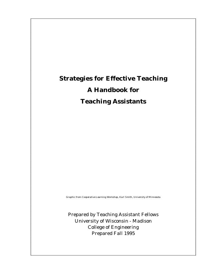Strategies for Effective Teaching                   A Handbook for              Teaching Assistants  Graphic from Cooperat...