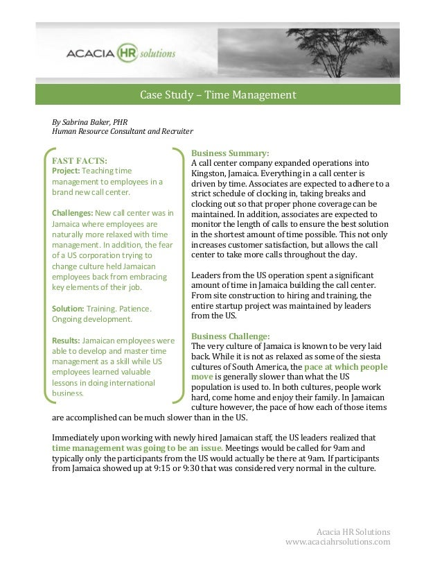 Case Study – Time Management By Sabrina Baker, PHR Human Resource Consultant and Recruiter  FAST FACTS: Project: Teaching ...