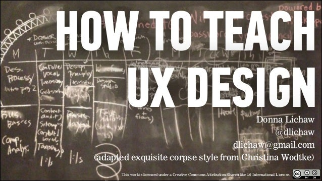 HOW TO TEACH UX DESIGN Donna Lichaw @dlichaw dlichaw@gmail.com (adapted exquisite corpse style from Christina Wodtke)  ! T...