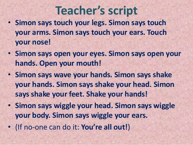 Simon Says Commands Teaching vocabulary about part of body through ...