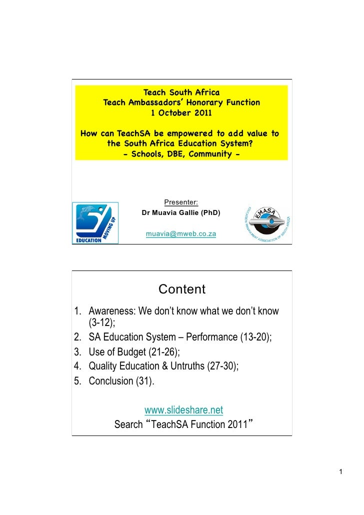 Teach South Africa      Teach Ambassadors' Honorary Function                 1 October 2011 How can TeachSA be empowered t...