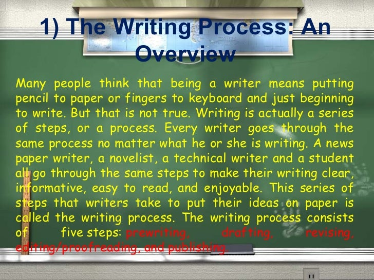 1) The Writing Process: An Overview Many people think that being a writer means putting pencil to paper or fingers to keyb...