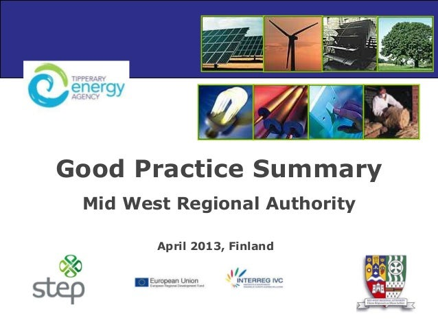 Good Practice Summary Mid West Regional Authority April 2013, Finland