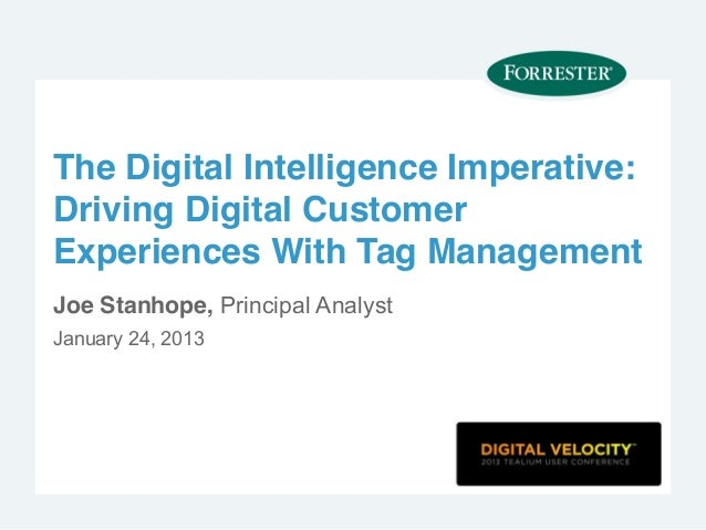 The Digital Intelligence Imperative:Driving Digital CustomerExperiences With Tag ManagementJoe Stanhope, Principal Analyst...