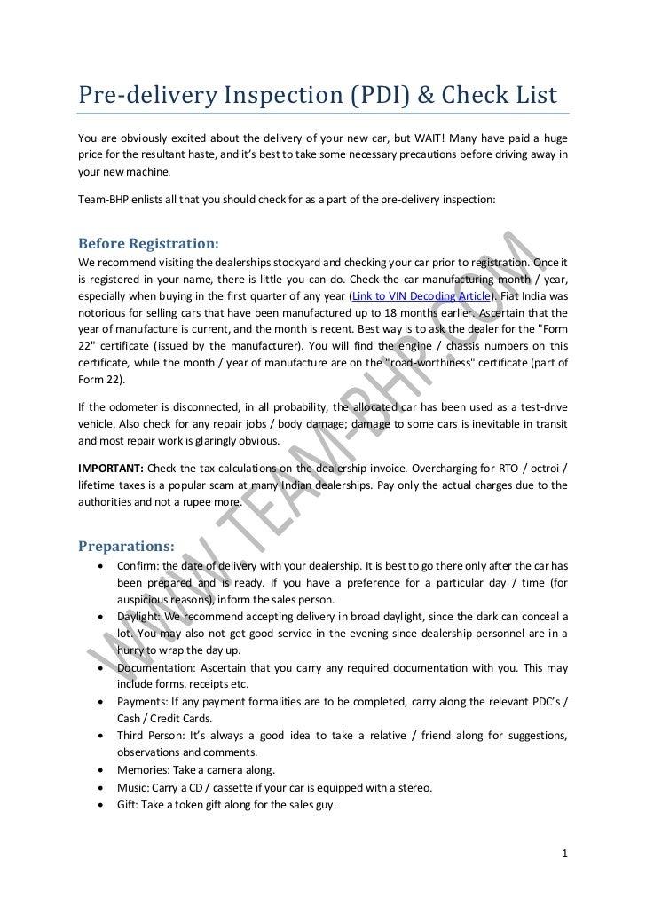 New Car Checklist Team Bhp