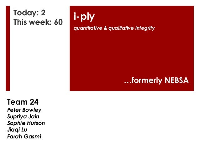 Today: 2 This week: 60  i-ply quantitative & qualitative integrity  …formerly NEBSA Team 24  Peter Bowley Supriya Jain Sop...