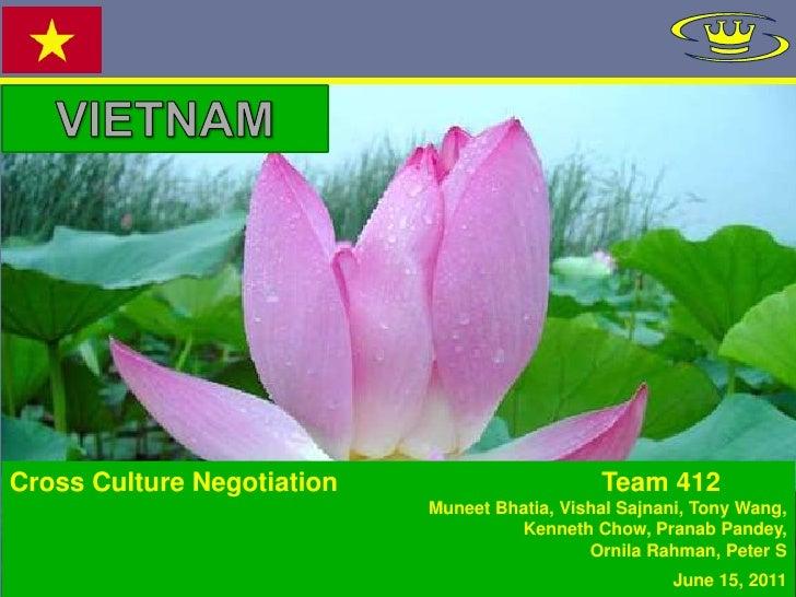 VIETNAM<br />Cross Culture Negotiation                                    Team 412<br />Muneet Bhatia, Vishal Sajnani, Ton...