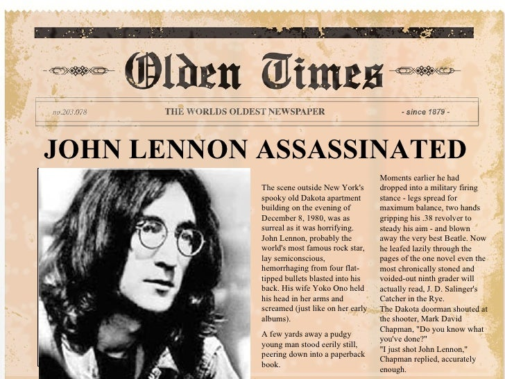 JOHN LENNON ASSASSINATED The scene outside New York's spooky old Dakota apartment building on the evening of December 8, 1...
