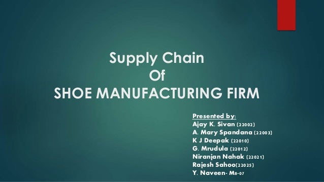 Supply Chain Of SHOE MANUFACTURING FIRM Presented by: Ajay K. Sivan (22002) A. Mary Spandana (22003) K J Deepak (22010) G....