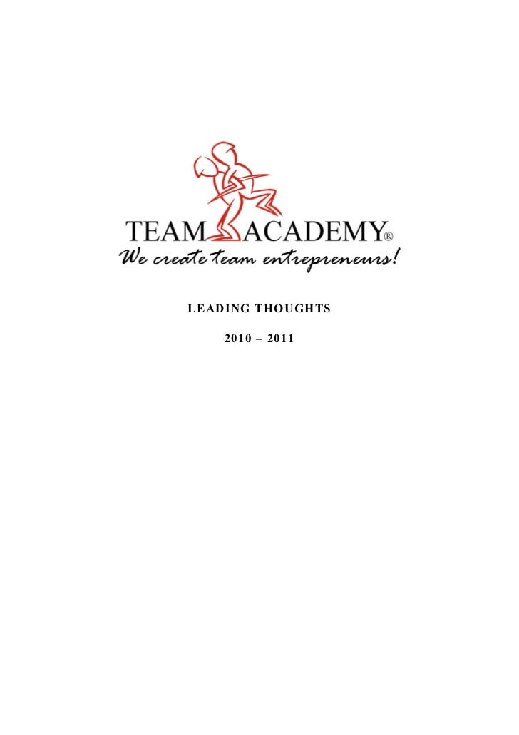 Team Academy: Leading Thoughts 2011