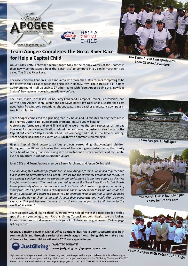 Team Apogee Corporation - Help a Capital Child - The Great River Race
