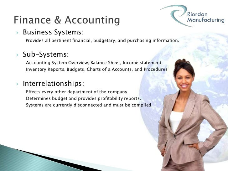 riordan manufacturing business systems analysis Riordan manufacturing: financial analysis university of phoenix business systems i bsa 500 (6 pages | 1929 words) abstract this paper provides comprehensive information about the overall financial status of riordan manufacturing a detailed analysis of the corporation's current accounting information systems and an overview of the information and management systems.