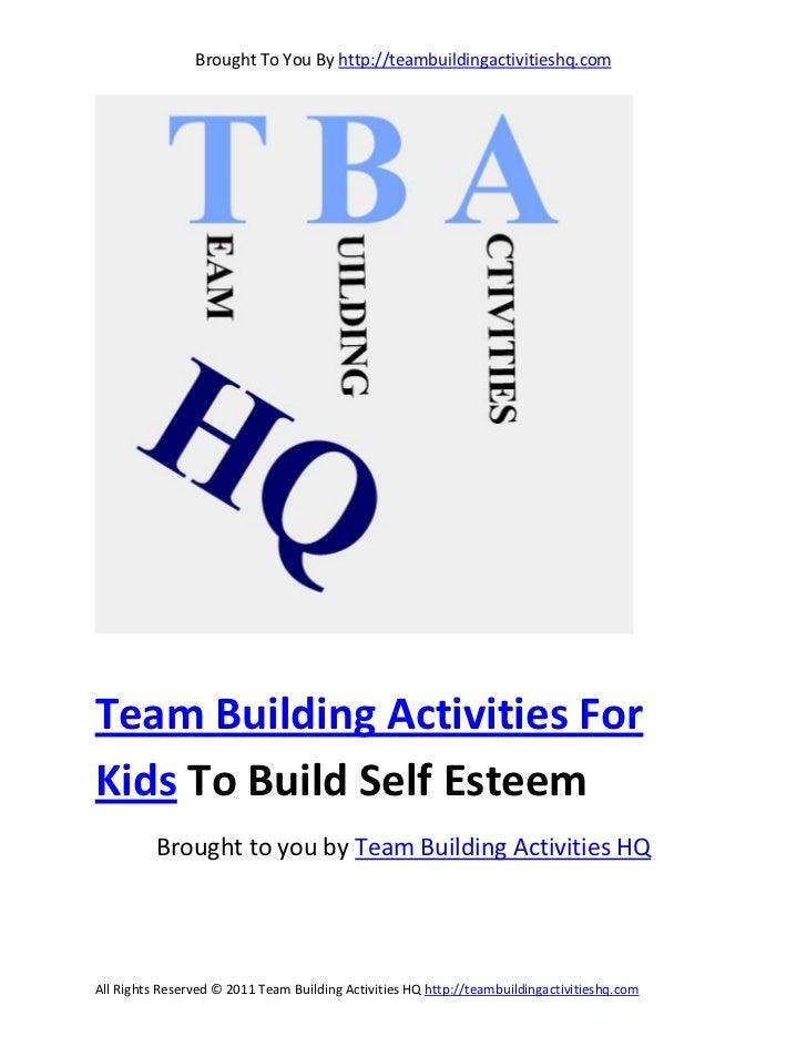 Team building activities for kids to build self esteem