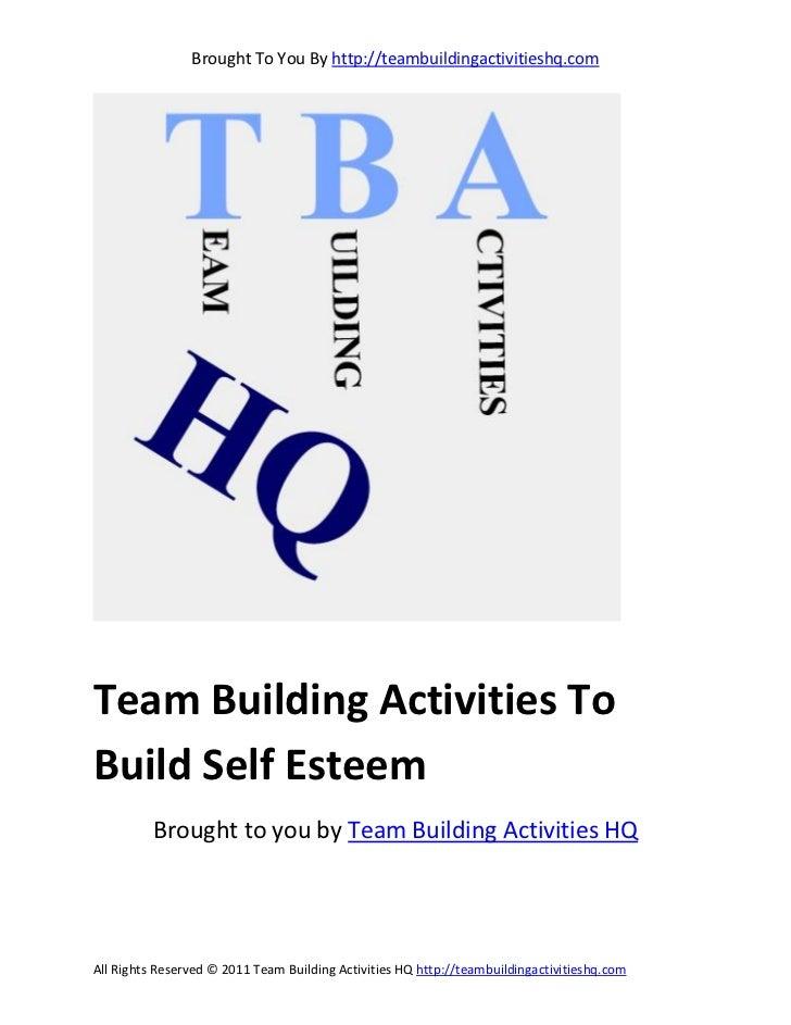 Team building activities to build self esteem