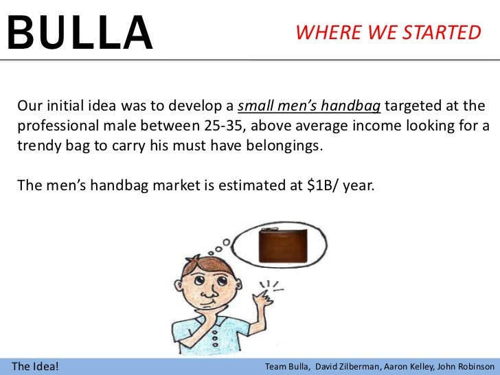 BULLA                                       WHERE WE STARTED Our initial idea was to develop a small men's handbag targete...
