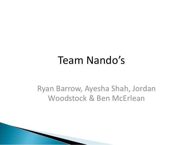 Team Nando'sRyan Barrow, Ayesha Shah, Jordan   Woodstock & Ben McErlean