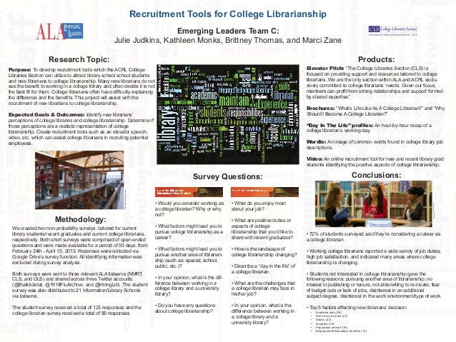 Recruitment Tools for College Librarianship Emerging Leaders Team C: Julie Judkins, Kathleen Monks, Brittney Thomas, and M...
