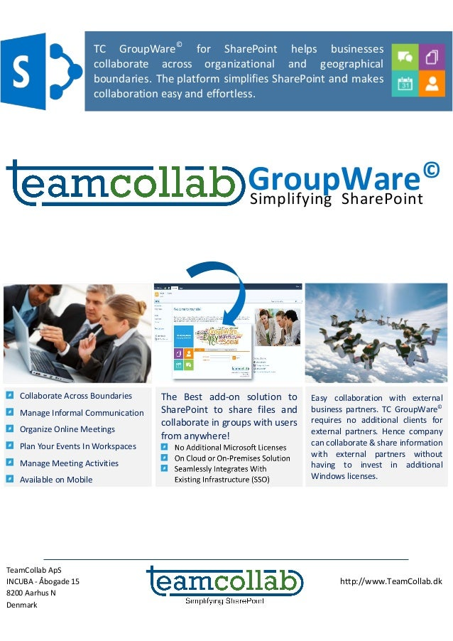 TeamCollab ApS INCUBA - Åbogade 15 8200 Aarhus N Denmark http://www.TeamCollab.dk Simplifying SharePoint The Best add-on s...